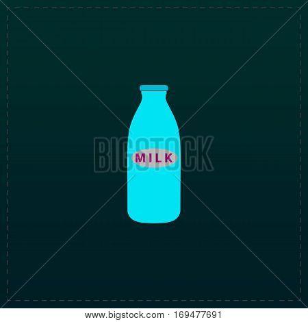 Milk bottle. Color symbol icon on black background. Vector illustration