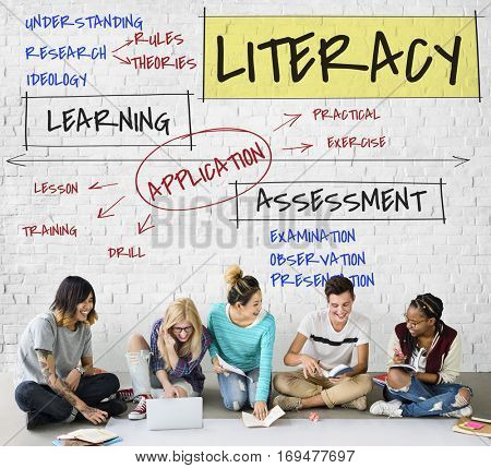 Diverse People Study Literacy Concept