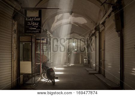 YAZD IRAN - AUGUST 19 2016: Empty street in the covered bazaar of Yazd Iran