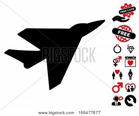 Intercepter pictograph with bonus dating pictures. Vector illustration style is flat iconic intensive red and black symbols on white background.
