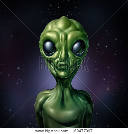Alien UFO character and extraterrestrial humanoid green creature sightings concept as a symbol for the search for intelligent life in the universe as a 3D illustration.