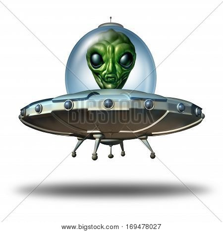 Alien in a flying saucer as a UFO visitor in a spaceship or spacecraft and extraterrestrial martian green creature inside as a symbol for the search for intelligent life as a 3D illustration on a white background.