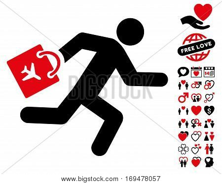Late Airport Passenger icon with bonus valentine clip art. Vector illustration style is flat iconic intensive red and black symbols on white background.
