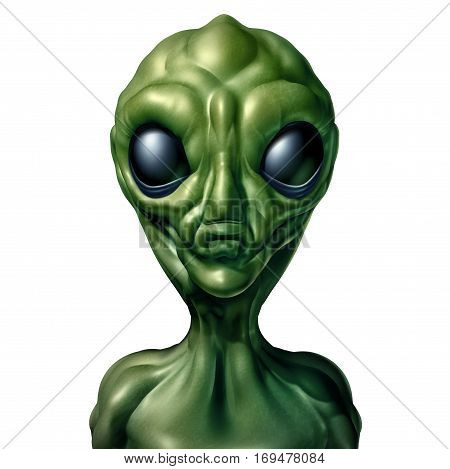 Alien character and UFO visitor and extraterrestrial humanoid green creature sighting concept as a symbol for the search for intelligent life in the universe as a 3D illustration isolated on a white background.