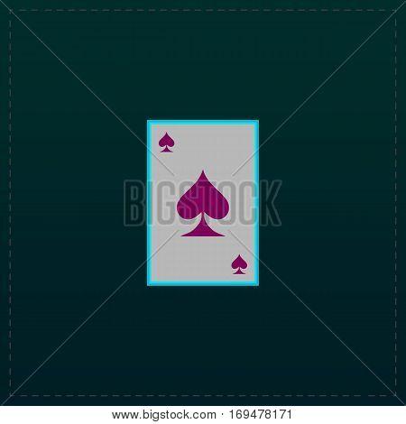 Spades card. Color symbol icon on black background. Vector illustration
