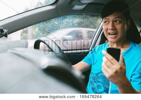 Man Call Phone While Driving Driving.