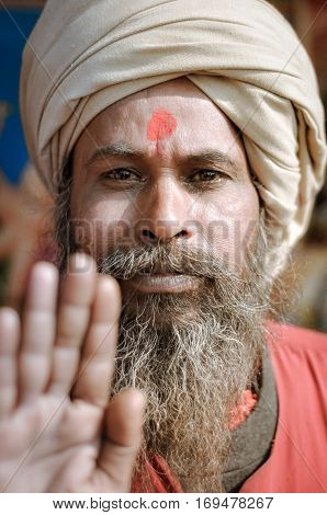 Man With Red Dot In West Bengal