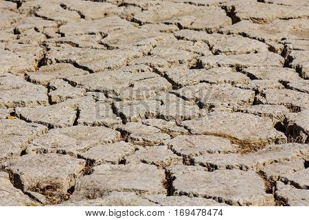 Dry ground on Zayandeh river in Iran during the summer 2016 drought