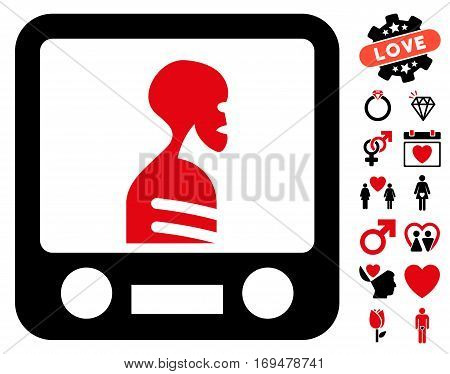 Xray Screening icon with bonus lovely pictures. Vector illustration style is flat iconic intensive red and black symbols on white background.