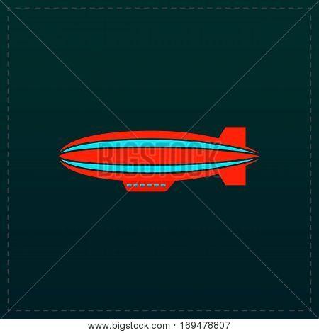 Airship. Color symbol icon on black background. Vector illustration