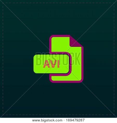 AVI video file extension. Color symbol icon on black background. Vector illustration