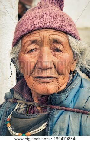 Woman With Grey Hair In Ladakh
