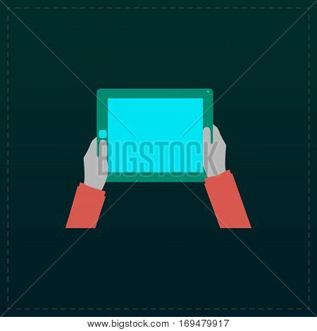 Hands holding tablet computer with blank screen. Color symbol icon on black background. Vector illustration