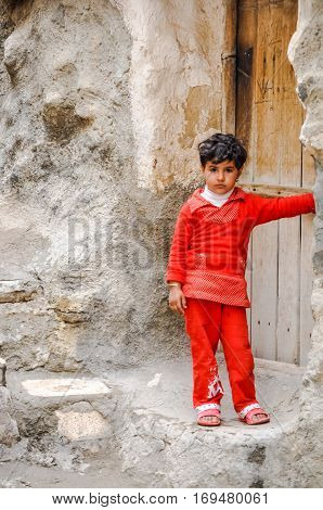 Girl In Rocky Village In Iran