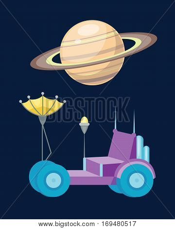 Moonwalker with radar and manipulator icon. Spaceship vector astronomy concept. Moon planet rover science technology travel antenna transport.