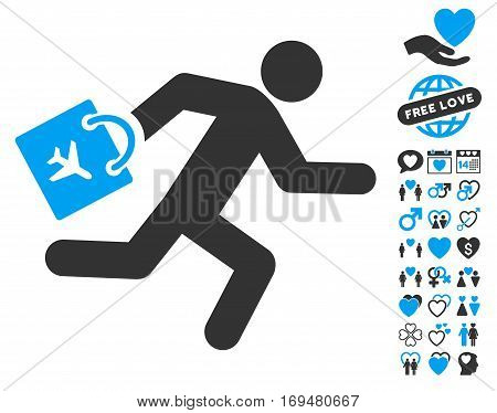 Late Airport Passenger pictograph with bonus dating symbols. Vector illustration style is flat iconic blue and gray symbols on white background.
