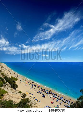 Egremni beach, Lefkada island, Greece. Large and long beach with turquoise water on the island of Lefkada