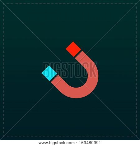 Magnet. Color symbol icon on black background. Vector illustration