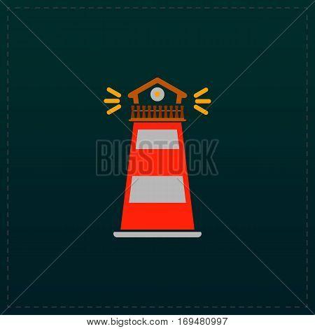 Lighthouse. Color symbol icon on black background. Vector illustration