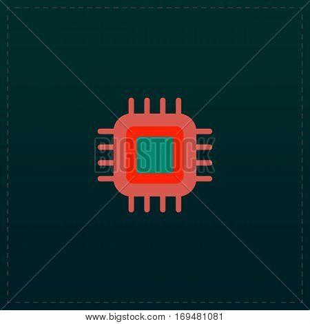 CPU. Color symbol icon on black background. Vector illustration