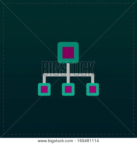 Network block diagram. Color symbol icon on black background. Vector illustration