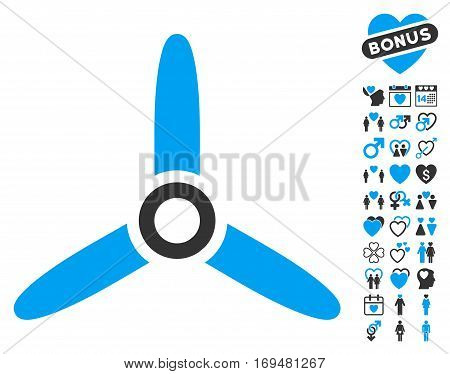 Three Bladed Screw pictograph with bonus dating pictograms. Vector illustration style is flat iconic blue and gray symbols on white background.