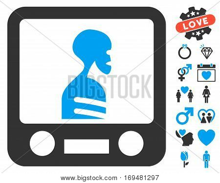 Xray Screening pictograph with bonus dating design elements. Vector illustration style is flat iconic blue and gray symbols on white background.