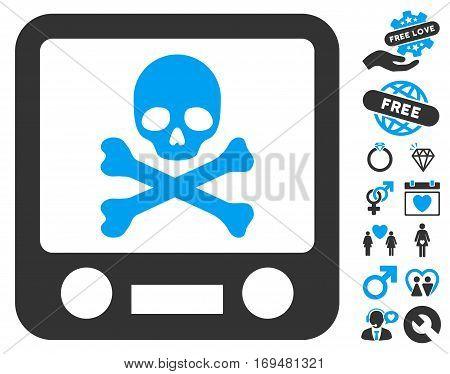 Xray Screening icon with bonus valentine symbols. Vector illustration style is flat iconic blue and gray symbols on white background.