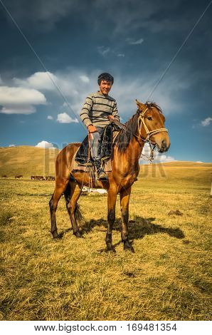 Young Man In Son Kol In Kyrgyzstan