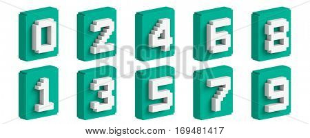 Tosca 3D colorful boxy number set.