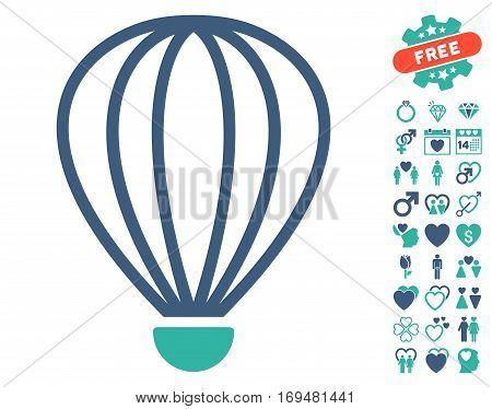 Aerostat icon with bonus lovely icon set. Vector illustration style is flat iconic cobalt and cyan symbols on white background.