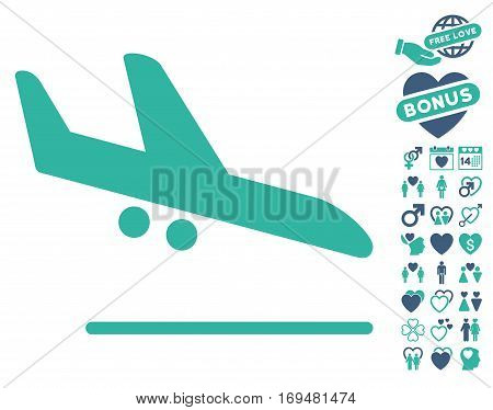 Aiplane Landing pictograph with bonus lovely design elements. Vector illustration style is flat iconic cobalt and cyan symbols on white background.
