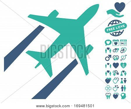Air Jet Trace pictograph with bonus dating icon set. Vector illustration style is flat iconic cobalt and cyan symbols on white background.