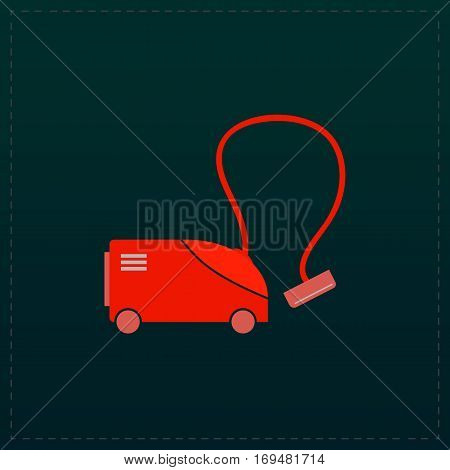Vacuum cleaner. Color symbol icon on black background. Vector illustration