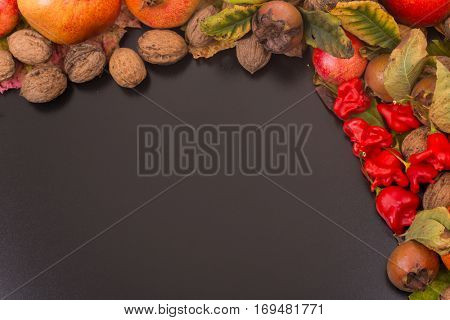 autumn still life, copy space, dark background, autumn composition from top. Free space for texta