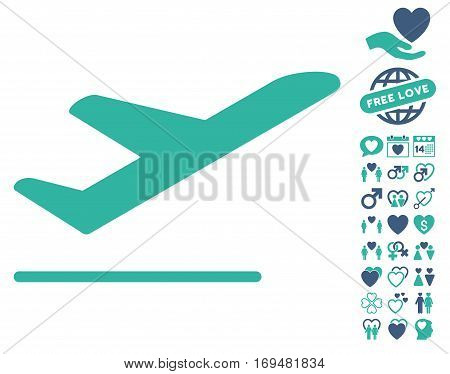 Airplane Departure icon with bonus dating pictograph collection. Vector illustration style is flat iconic cobalt and cyan symbols on white background.