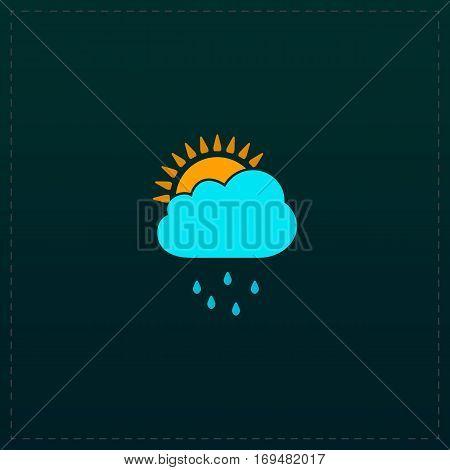 Rainy season. Color symbol icon on black background. Vector illustration