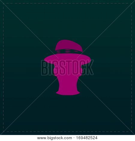Man head with hat. Color symbol icon on black background. Vector illustration