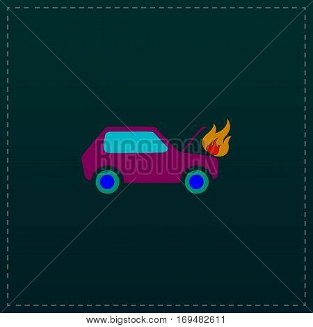 Car fire. Color symbol icon on black background. Vector illustration