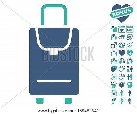 Carryon pictograph with bonus love pictograph collection. Vector illustration style is flat iconic cobalt and cyan symbols on white background.