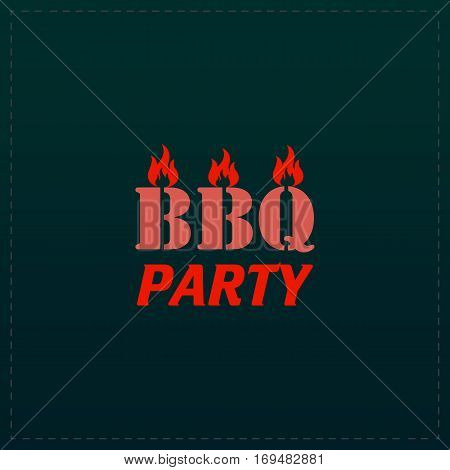 Flaming BBQ Party word design element. Color symbol icon on black background. Vector illustration