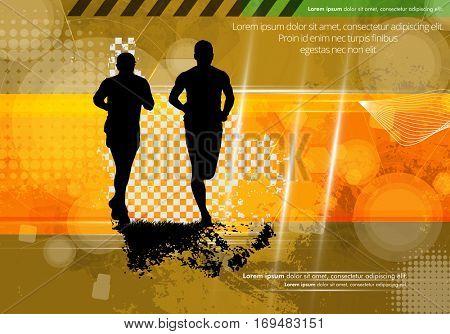 Marathon runners, vector