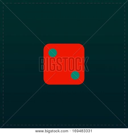 One die - side with 2. Color symbol icon on black background. Vector illustration