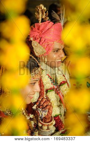 Smiling Wedding Couple In Rajasthan