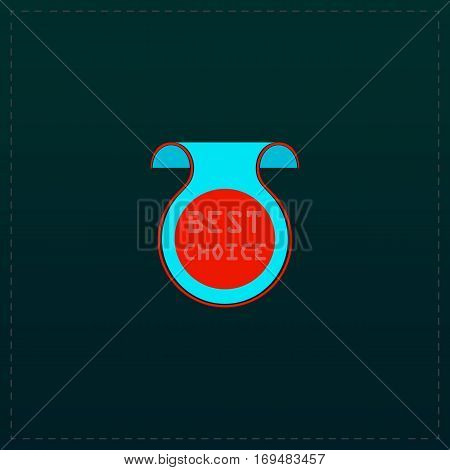 Bookmark with Best Choice message. Color symbol icon on black background. Vector illustration