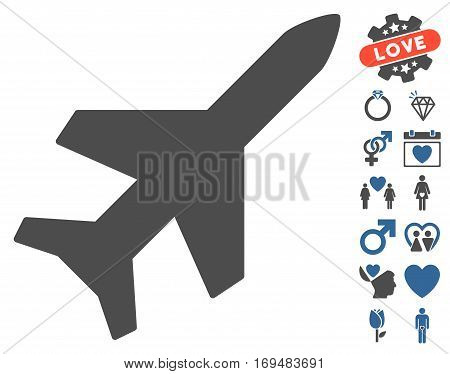 Aeroplane icon with bonus dating pictograms. Vector illustration style is flat iconic cobalt and gray symbols on white background.