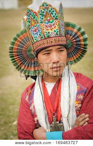 Man With Traditional Hat In Arunachal Pradesh