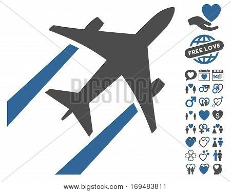 Air Jet Trace pictograph with bonus dating clip art. Vector illustration style is flat iconic cobalt and gray symbols on white background.
