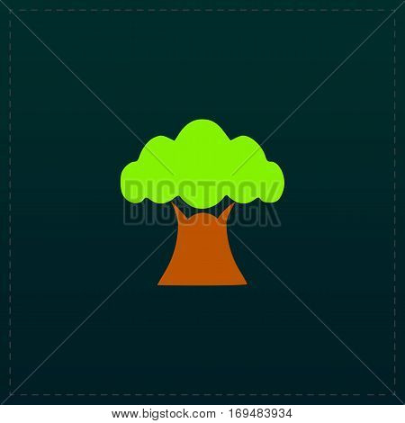 Baobab tree. Color symbol icon on black background. Vector illustration