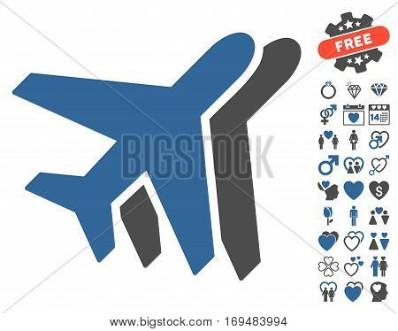 Airlines pictograph with bonus dating images. Vector illustration style is flat iconic cobalt and gray symbols on white background.